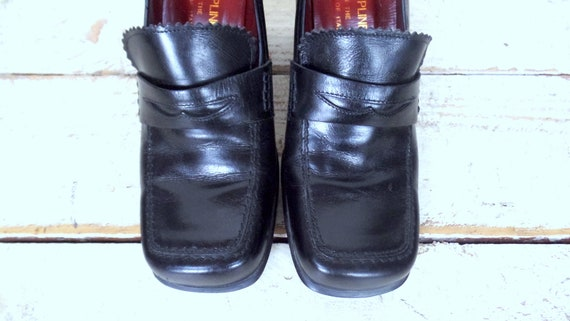 loafers Donald toe heel square penny penny loafers Pliner stacked high black leather loafers N 9 qrznwZqA