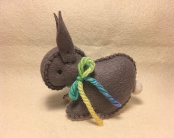 Dark grey Easter bunny rabbit Australian made - wool felt Waldorf inspired