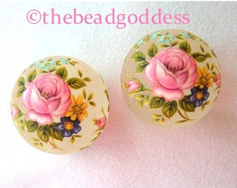 Beautiful 12mm Japanese TENSHA Beads Pink Rose Frost 2 pieces