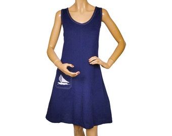 Vintage 1960s Navy Blue Jumper Dress by Swirl with Sailboat Applique - M