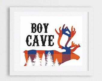 Boy Cave Wall Art, Rustic Boys Room Decor, Blue and Orange Flannel Outdoors Art Print, Woodland Nursery Art, Rustic Boys Room Wall Art