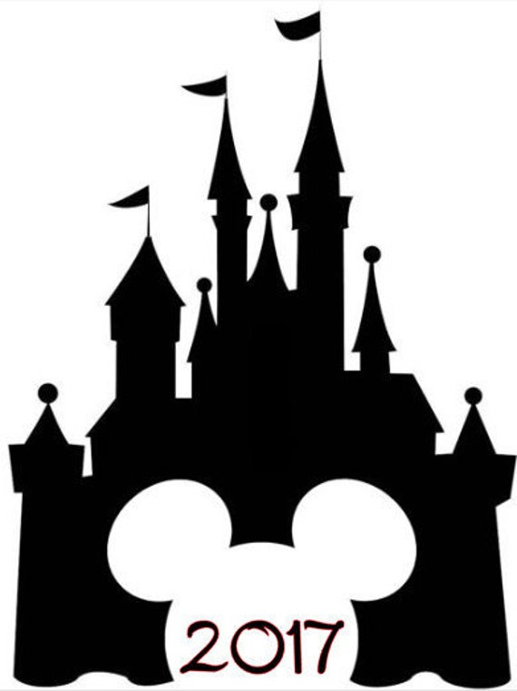 Svg File Of Disney Castle With Mickey Cutout And Year