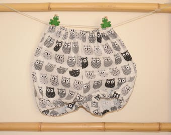 Bloomer, onesie, bloomers, shorts, baby and toddler black and white owls