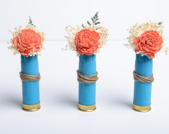 Coral and Blue Bullet Shell Boutonniere, Country Wedding Boutonniere, Rustic Boutonniere Wedding, Sola Flower boutonniere