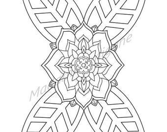 Flower and Leaves Coloring Page- PDF Instant Download