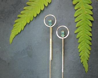Modern Minimal Gold Fill Circle/Chevron Stick Earrings