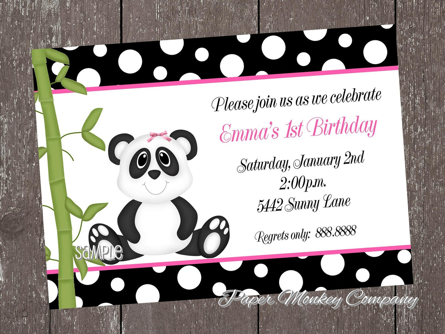 Panda Bear Birthday Invitations for boy or girl