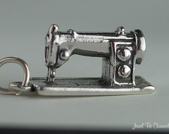 Sterling Silver Sewing Machine Charm Seamstress Tailor 3D Solid .925