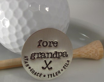 GOLF BALL MARKER -Custom Sterling Silver Hand Stamped Golf Ball Marker For grandpa