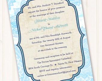 wedding invitations Moroccan wedding invitations indigo and