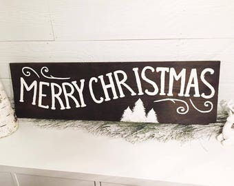 Merry Christmas Wood Christmas Sign