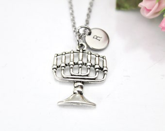 Menorah Necklace, Silver Menorah Charm, Judaica Jewelry, Judaical Charm, Jewish Gift, Candle Holder Charm, Olive Branch Charm, N158