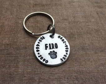 """Handmade Custom Hand-stamped Dog/Cat tag - The """"Fido""""  - Personalized"""