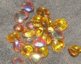 AMBER topaz AB puffy 8mm CZECH Glass (12)