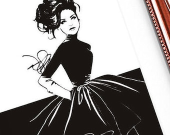 Anastasia print, Couture, Fashion Illustration, Monochrome Art, Bedroom Décor Black and White Ballgown Chic