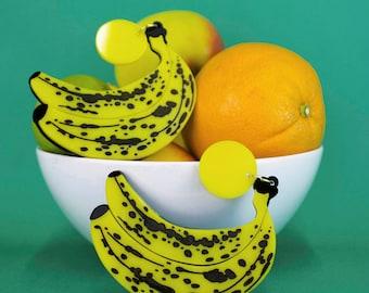 Banana Statement Earrings Acrylic Laser Cut Fruit Statement Earrings Gift for Her Laser Engraved Perspex Acrylic