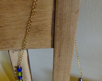 Blue and Green Memory Wire Necklace