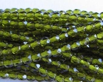 Olivine 4mm Czech Firepolish Glass  Qty 1 strand - approximately 50 beads