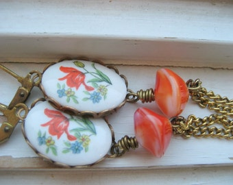 Floral Cab Earrings Long Dangle Chain earrings, fall accessory, Autumn Harvest