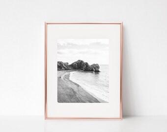Cliff Waves Wall Art, Printable Art, Photography Print, Wall Decor, Wall Art, Landscape Digital Print, Black and White Print