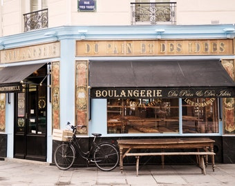 Paris Bakery Photography - Classic Paris Boulangerie, Blue and Gold Travel Photography, French Home Decor, Large Wall Art
