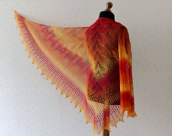 Hand Knit wool  shawl - bright red, orange, yellow / Gift idea / Mother day gift idea