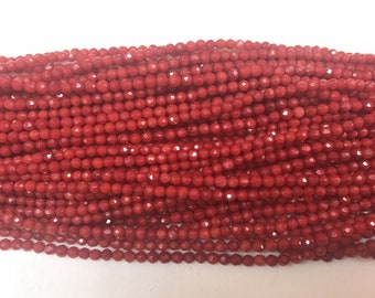Natural Red Coral  2mm / 3mm Round Cut Genuine Loose Faceted Beads 15 inch Jewelry Supply Bracelet Necklace Material Support Wholesale