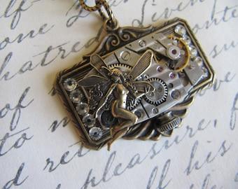 Steampunk, Steampunk Necklace, Steampunk Jewelry, Fairy, Rhinestone, Womens Necklace, Neo Victorian