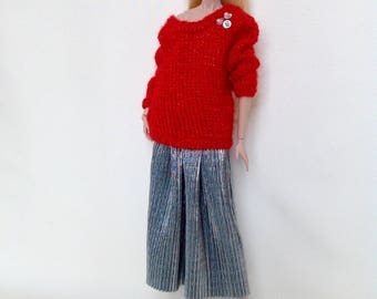 Holiday sweater and skirt set for Barbie or Fashion Royalty dolls