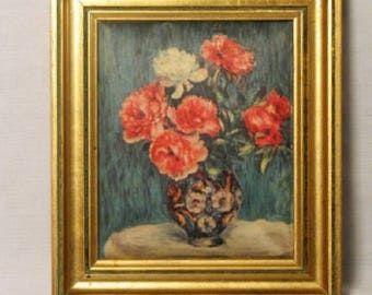 Reproduction printed on silk bouquet of RENOIR in frame