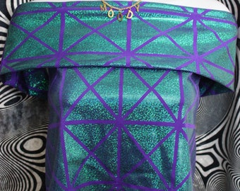 Purple Green Holographic Off Shoulder Top // ONLY ONE MADE  | rave wear | rave top | ultra | edc | Dance wear | lost lands | tomorrowland