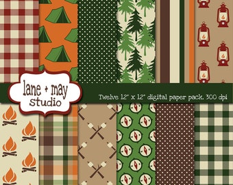 digital scrapbook papers - green, orange and brown camping themed - INSTANT DOWNLOAD