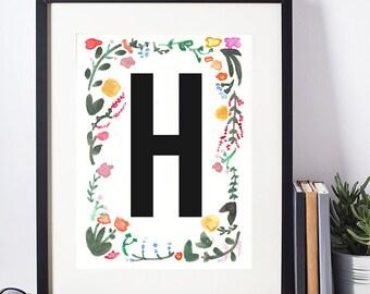 Watercolor print, Floral Monogram, Watercolor Monogram, Floral Alphabet, Watercolor Alphabet, Digital Print, Watercolor Download, H Monogram