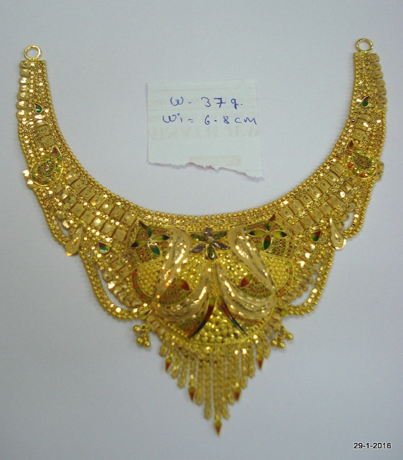 Gold Necklace And Earrings Set 22kt Indian Jewelry With: 22kt Gold Necklace Traditional Design Gold Choker Filigree