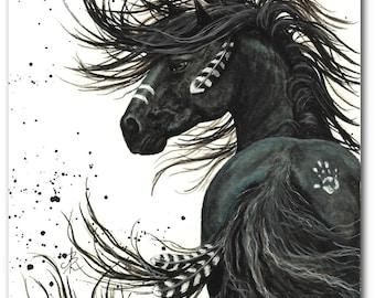 Majestic Horses - Black Stallion Spirit Horse Native Feathers Friesian - Prints by AmyLyn Bihrle mm65