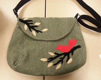 Pdf Pattern #127B Bag with Bird Applique's Tutorial instant download e-file with instant download