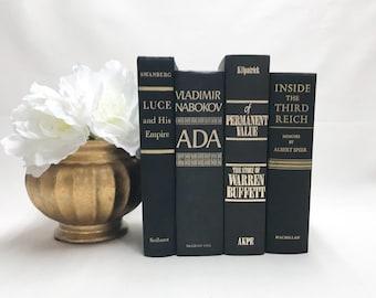 Black Books for Shelf Decor, Decorative Books, Vintage Decor