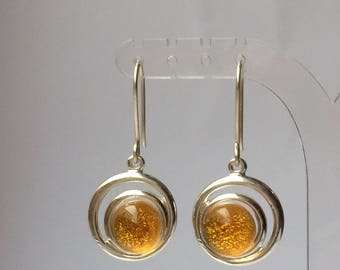 Amber Dichroic Glass Drop Earrings in Silver Plated Circle Setting and 925 Sterling Silver Earwires