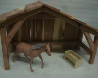 Nativity beams Stable/Shed/Barn/Manger Cedar Wood Kindergarten/DayCare/Christmas/horse/farm/pets