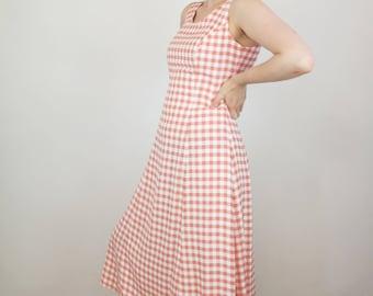 HUGE SALE 70s Vintage Pink and White Gingham Sleeveless Summer Midi Dress Medium-