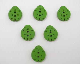 SET of 6 wood buttons: 16mm Green Ladybug
