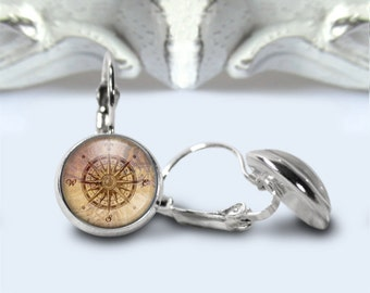 Compass Earrings, Rose Compass Jewelry, Leverback Earrings, Gift For Her