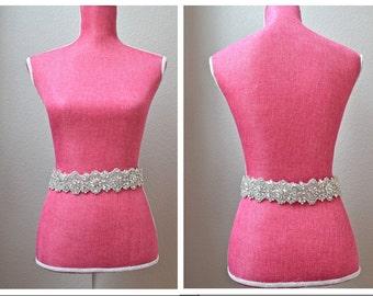 Full Length Crystal Bridal Belt with Clasp Closure, All-The-Way-Around Rhinestone Bridal Belt - Embellished Belt -Bridal Accessory EYM B020