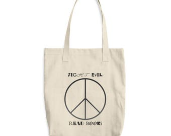 Book tote bag, fight evil read books, cotton tote bag, bag for books, everyday tote, purse, beige and black, gift for book lover, peace sign