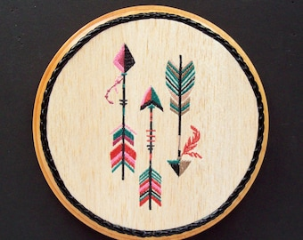 Native Arrow Art, Embroidery on Wood, Western Decor, Southwestern Decor, Tribal Decor, Country Western Decor, Bow Hunter Gift, Gift for Her