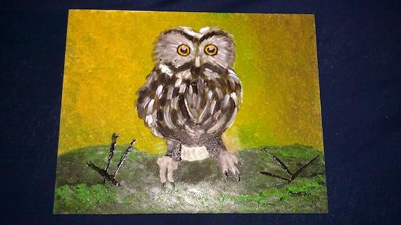 Saw-whet Owl--Original Oil Painting 8x10 framed