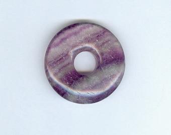 """Fluorit Schwerpunkt Donut, 35mm lila Fluorit Edelstein PI Focal-Anhänger """"Donut"""" 668"""