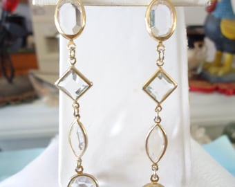 Gorgeous Long Pair Of Faceted Crystal Glass Drop Earrings Four Shapes Set In Gold Tone