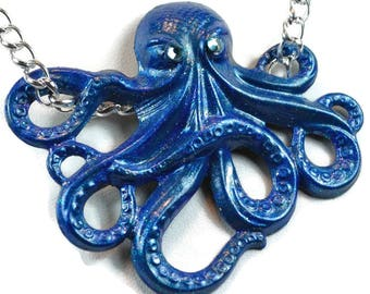 Miranda Hand Painted Octopus Pendant - Deep Sapphire Blue