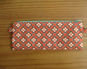 Orange flower pencil pouch